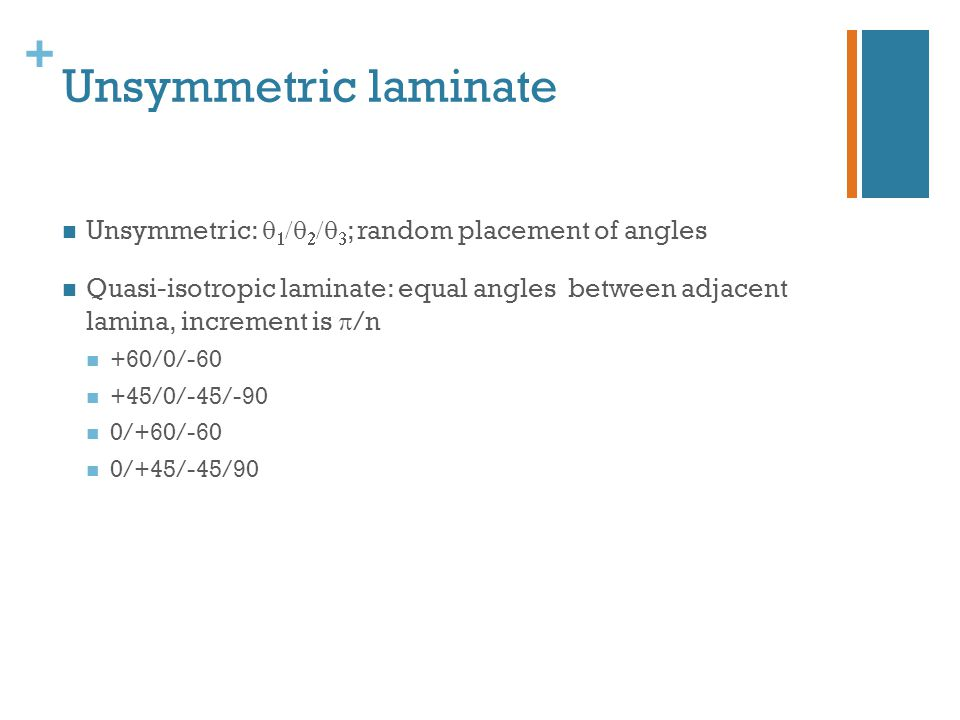 Unsymmetric laminate Unsymmetric: q1/q2/q3; random placement of angles