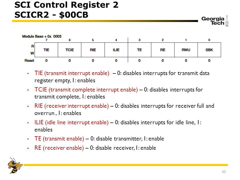 SCI Control Register 2 SCICR2 - $00CB