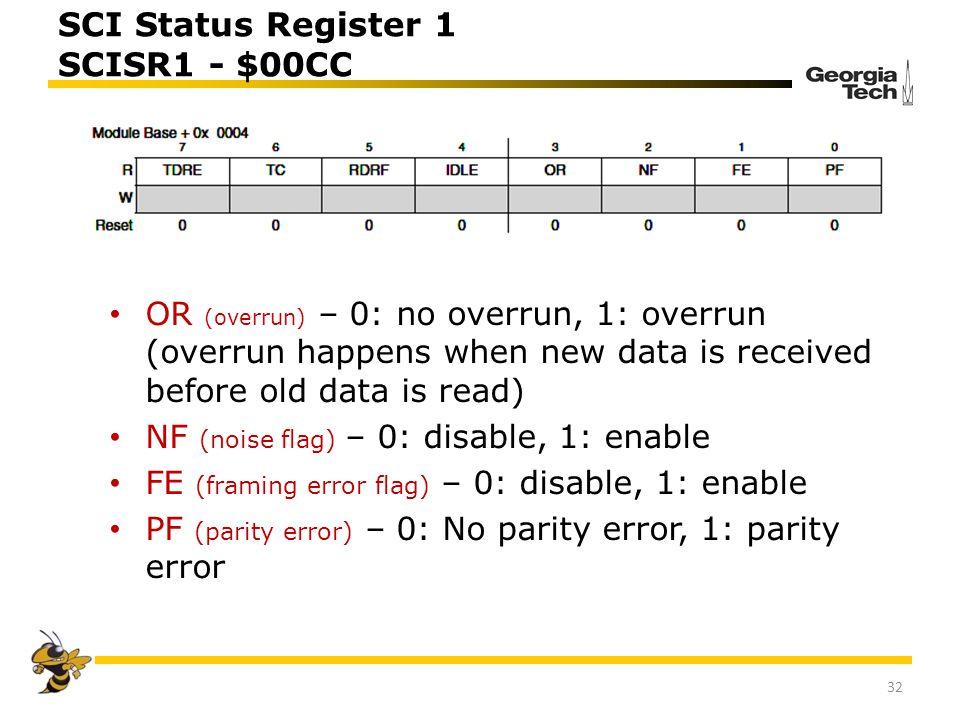 SCI Status Register 1 SCISR1 - $00CC