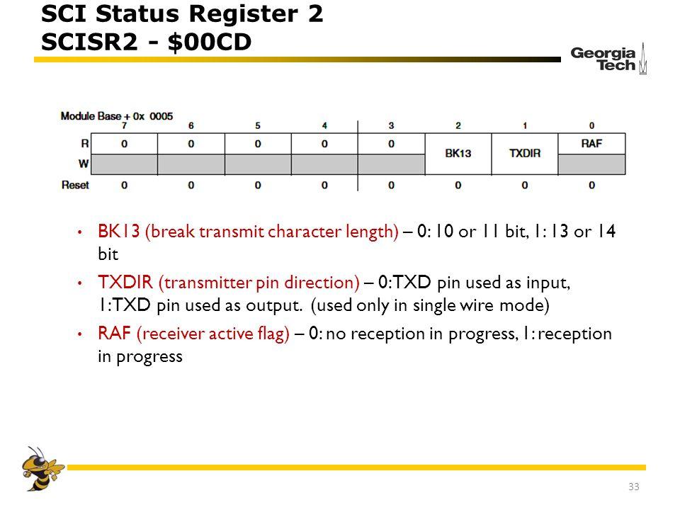SCI Status Register 2 SCISR2 - $00CD