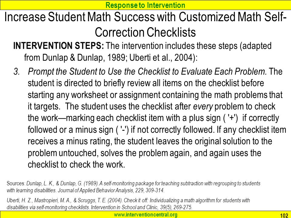 Increase Student Math Success with Customized Math Self-Correction Checklists