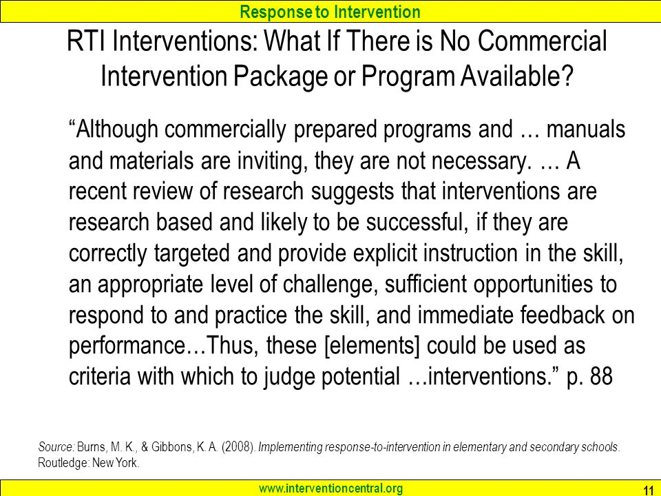 RTI Interventions: What If There is No Commercial Intervention Package or Program Available