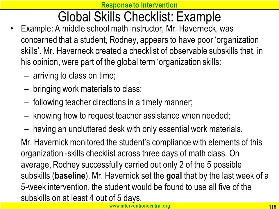 Global Skills Checklist: Example