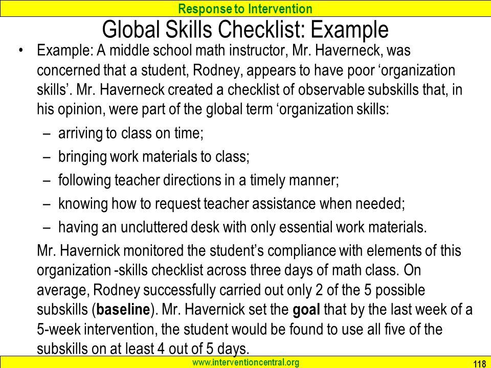 Global Skills Checklist: Example