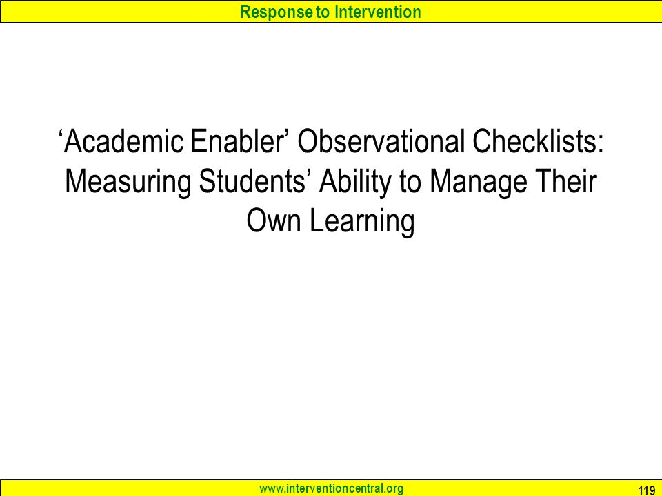 'Academic Enabler' Observational Checklists: Measuring Students' Ability to Manage Their Own Learning