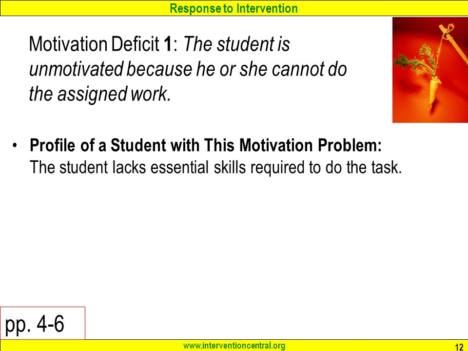 Motivation Deficit 1: The student is unmotivated because he or she cannot do the assigned work.