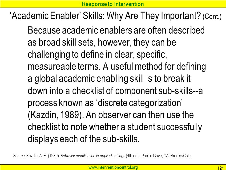'Academic Enabler' Skills: Why Are They Important (Cont.)