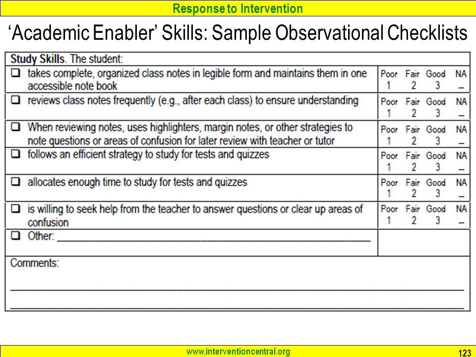 'Academic Enabler' Skills: Sample Observational Checklists