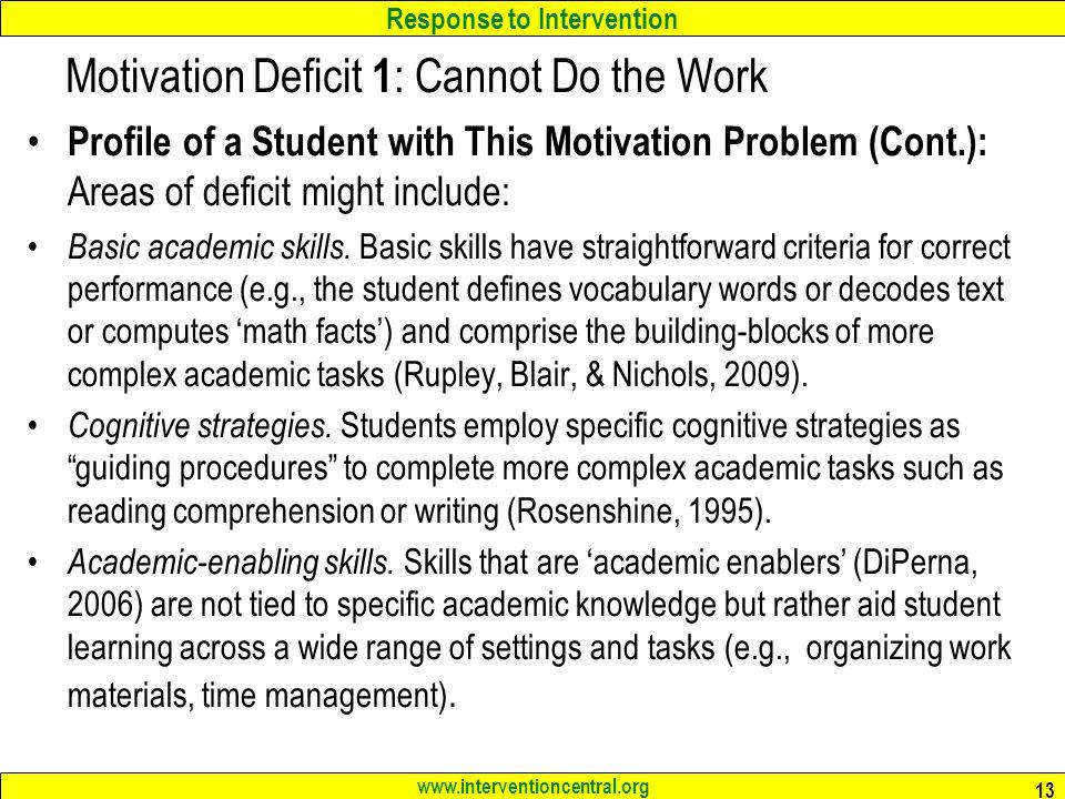 Motivation Deficit 1: Cannot Do the Work