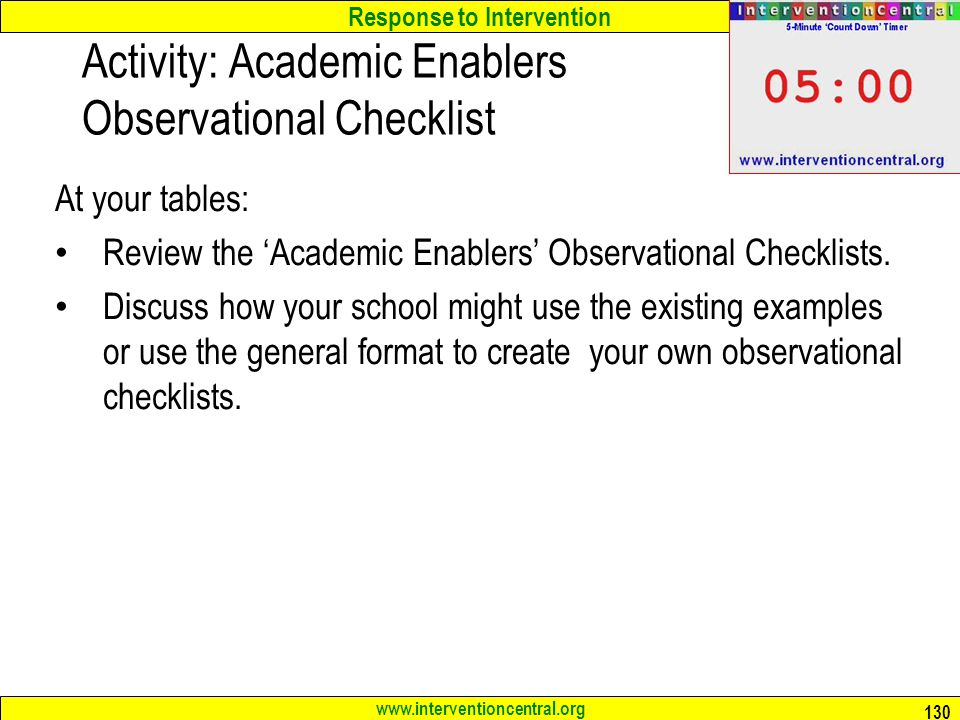 Activity: Academic Enablers Observational Checklist