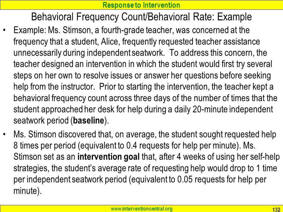 Behavioral Frequency Count/Behavioral Rate: Example