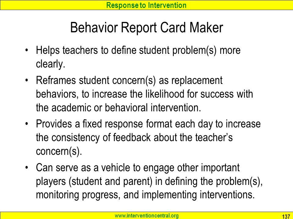 Behavior Report Card Maker