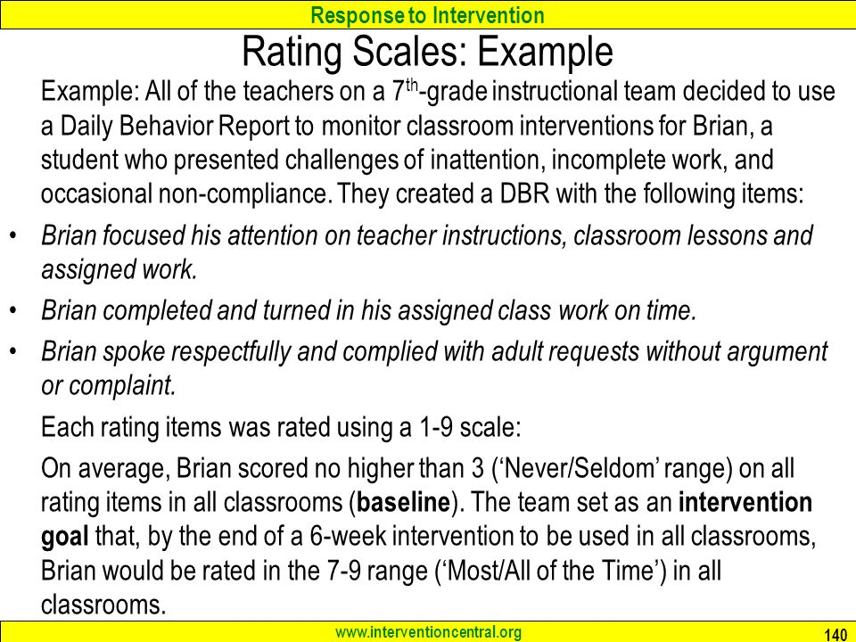 Rating Scales: Example