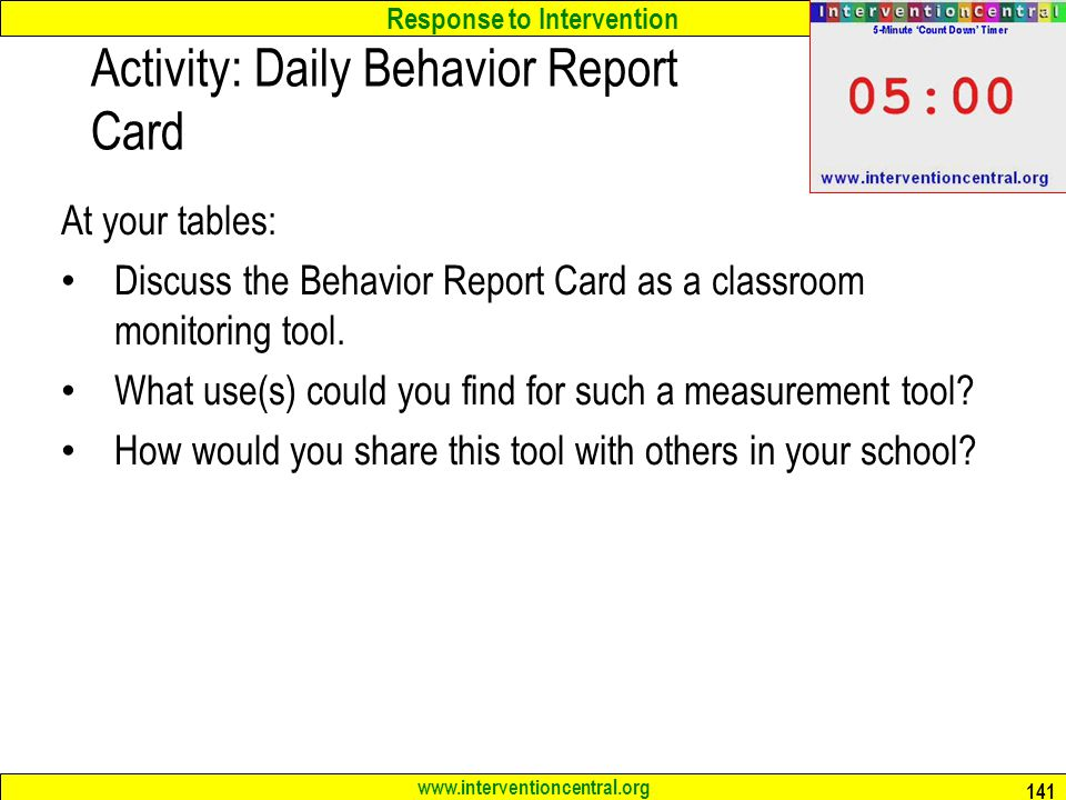 Activity: Daily Behavior Report Card