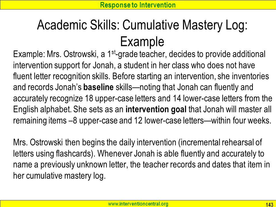 Academic Skills: Cumulative Mastery Log: Example