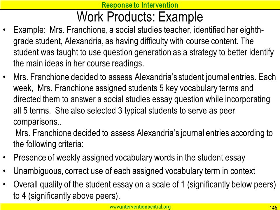 Work Products: Example