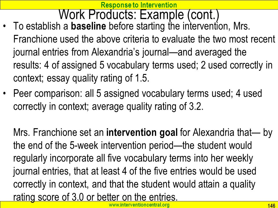 Work Products: Example (cont.)