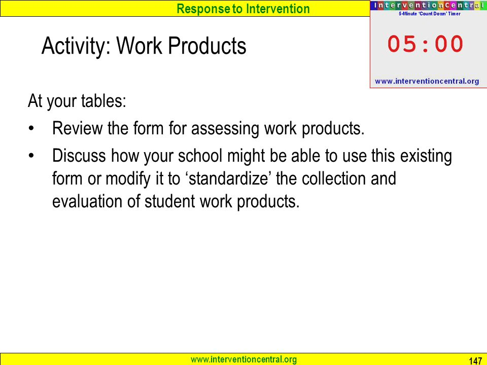 Activity: Work Products