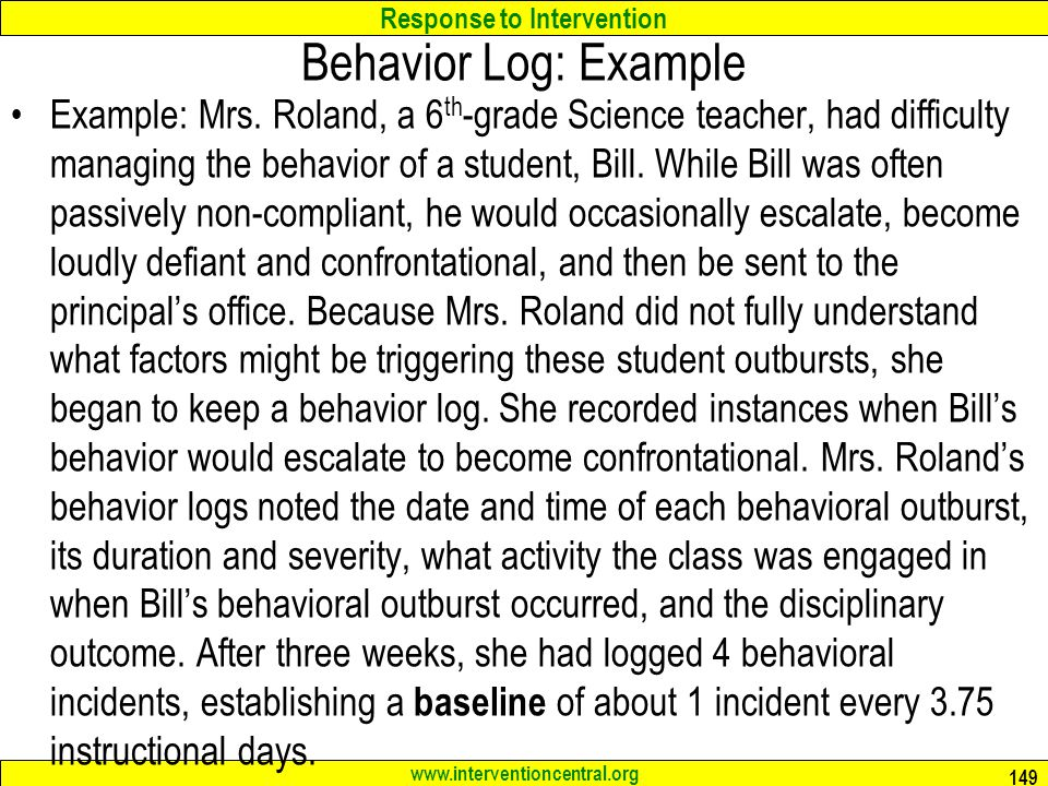 Behavior Log: Example