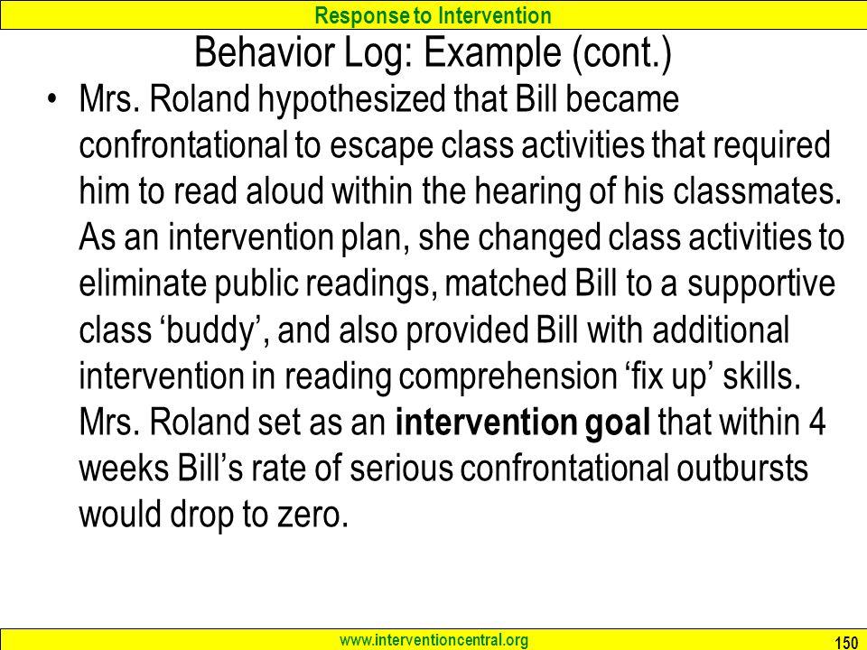 Behavior Log: Example (cont.)