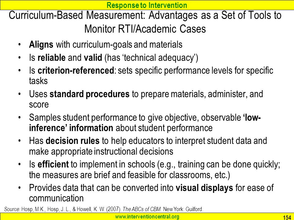 Curriculum-Based Measurement: Advantages as a Set of Tools to Monitor RTI/Academic Cases