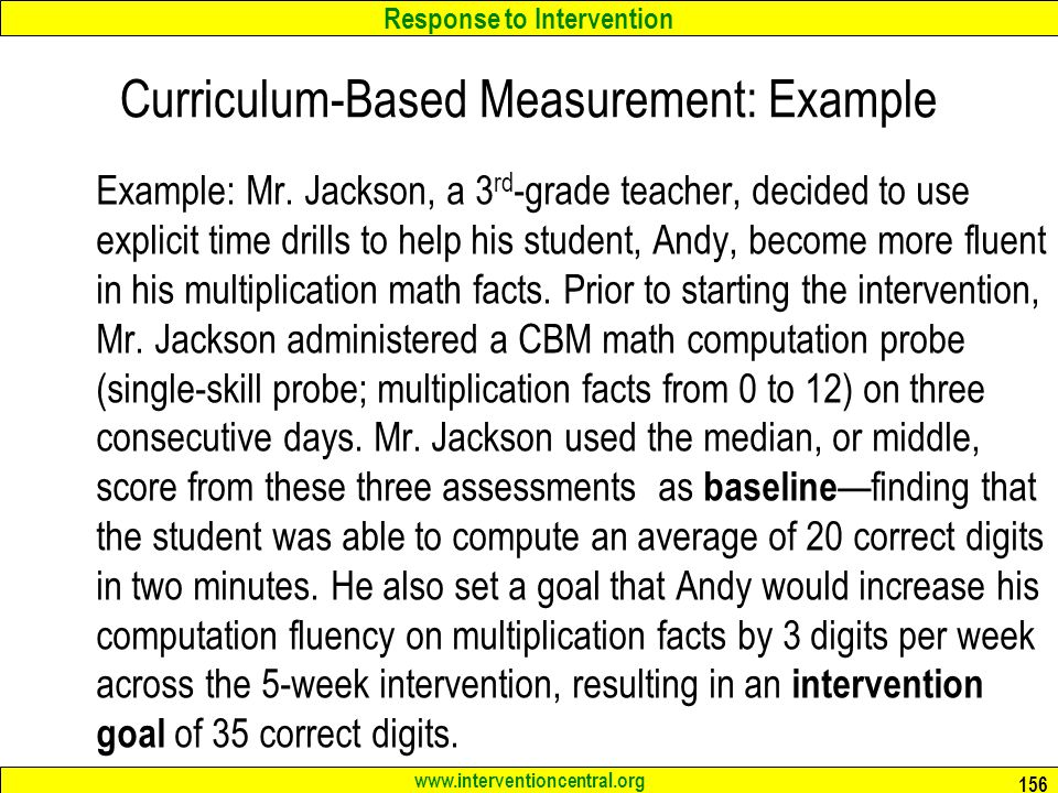 Curriculum-Based Measurement: Example