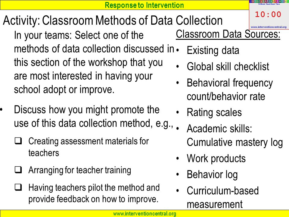 Activity: Classroom Methods of Data Collection
