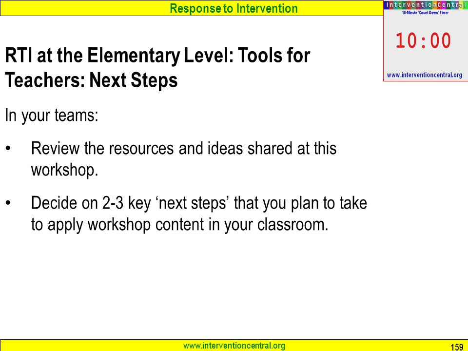 RTI at the Elementary Level: Tools for Teachers: Next Steps