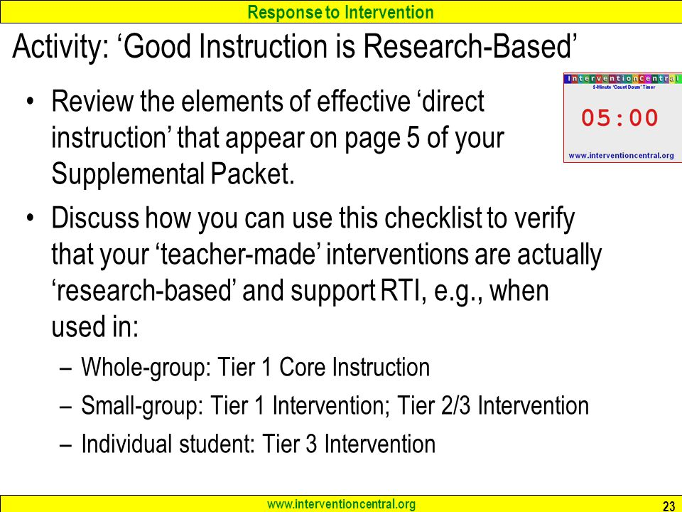 Activity: 'Good Instruction is Research-Based'