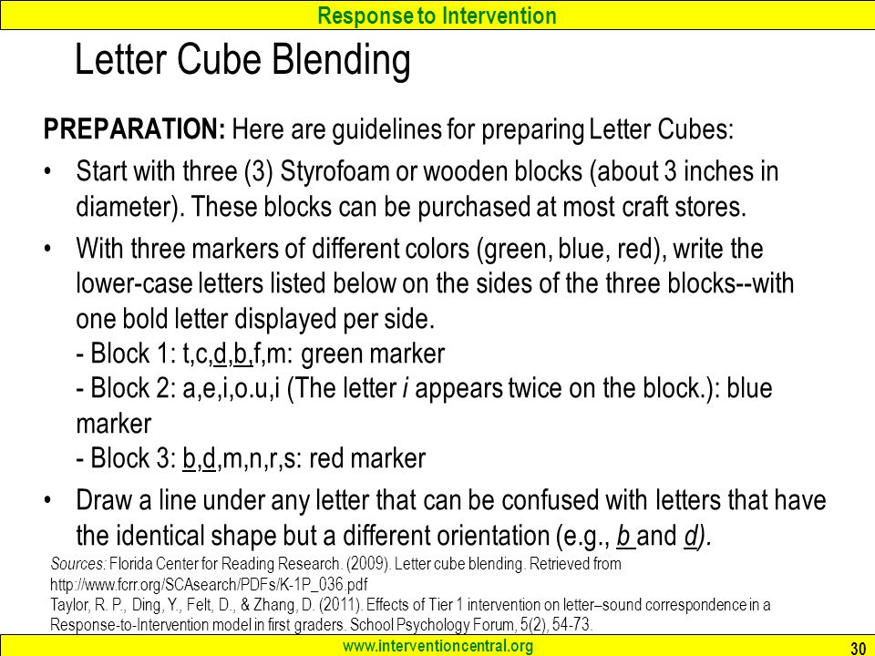 Letter Cube Blending PREPARATION: Here are guidelines for preparing Letter Cubes: