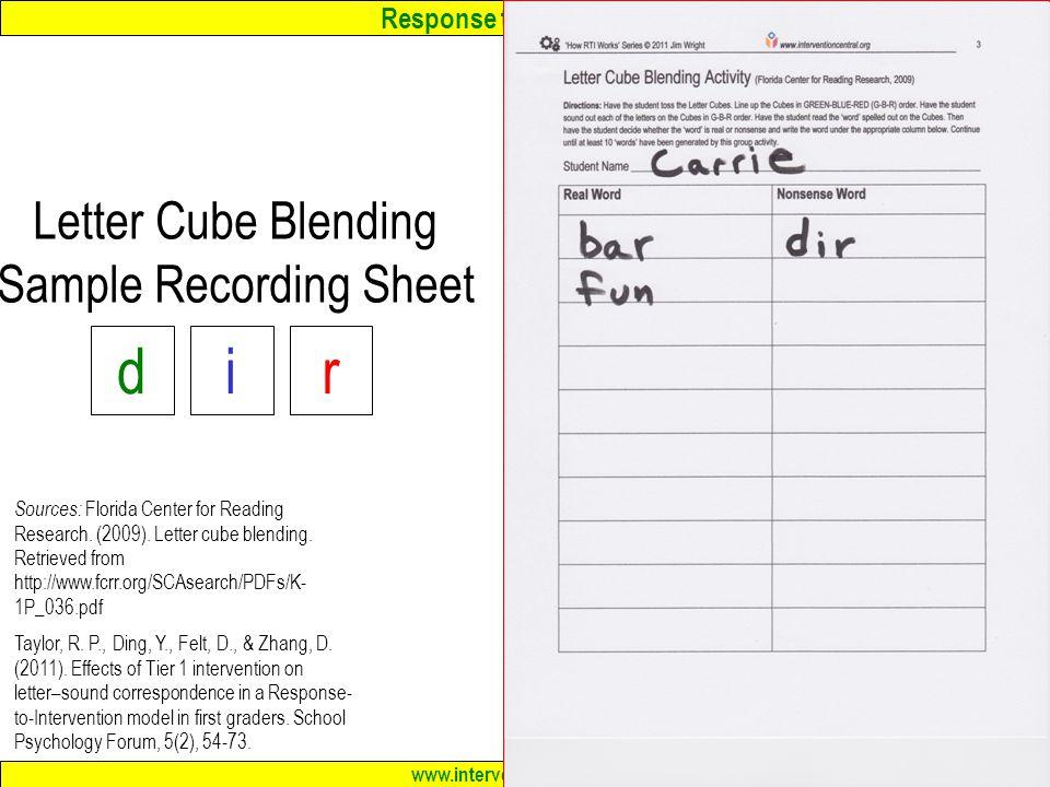 Letter Cube Blending Sample Recording Sheet
