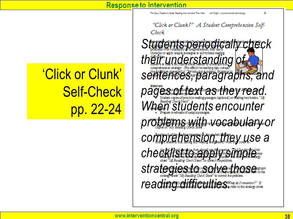 'Click or Clunk' Self-Check pp. 22-24