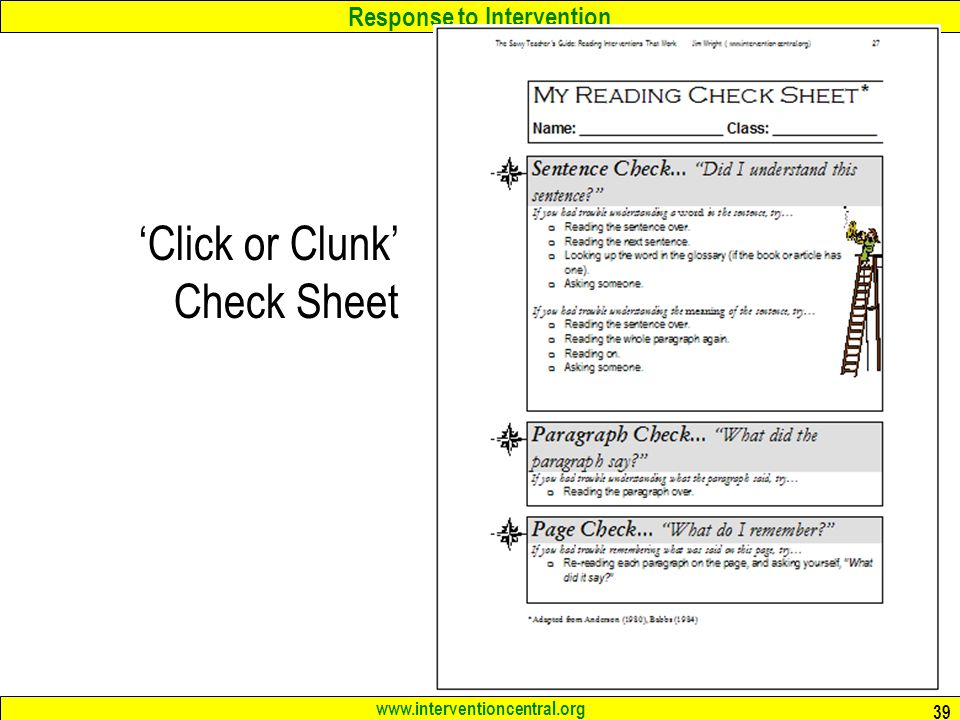 'Click or Clunk' Check Sheet