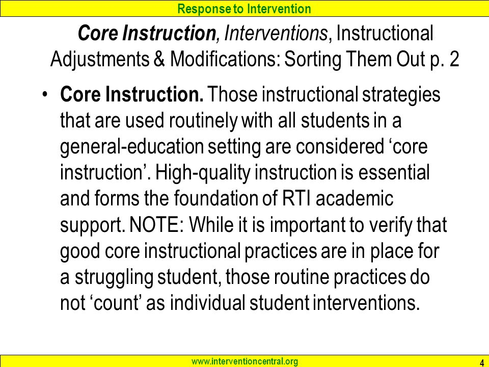 Core Instruction, Interventions, Instructional Adjustments & Modifications: Sorting Them Out p. 2