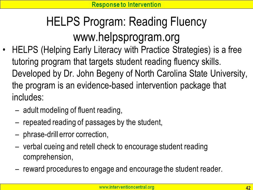 HELPS Program: Reading Fluency www.helpsprogram.org