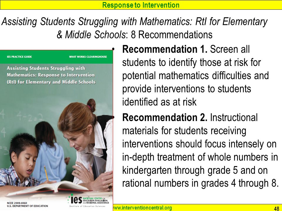 Assisting Students Struggling with Mathematics: RtI for Elementary & Middle Schools: 8 Recommendations