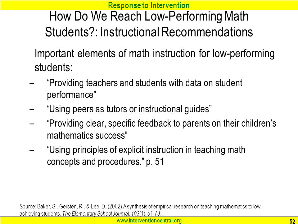 How Do We Reach Low-Performing Math Students