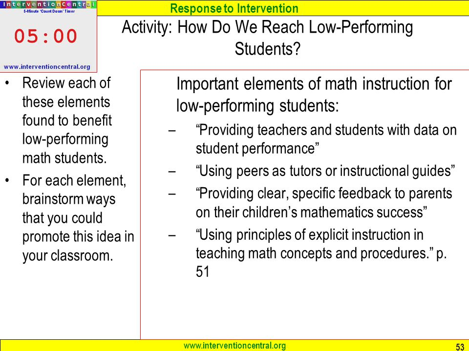 Activity: How Do We Reach Low-Performing Students