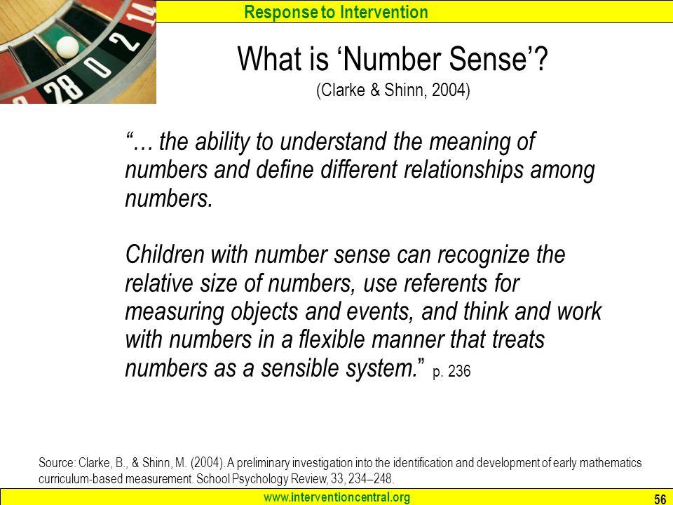 What is 'Number Sense' (Clarke & Shinn, 2004)