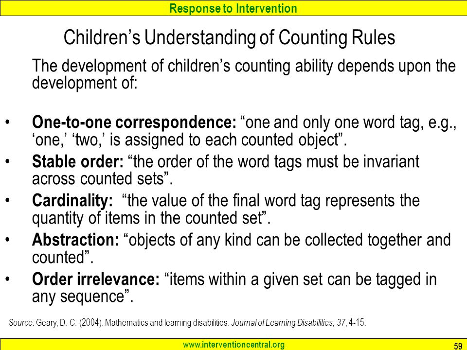Children's Understanding of Counting Rules