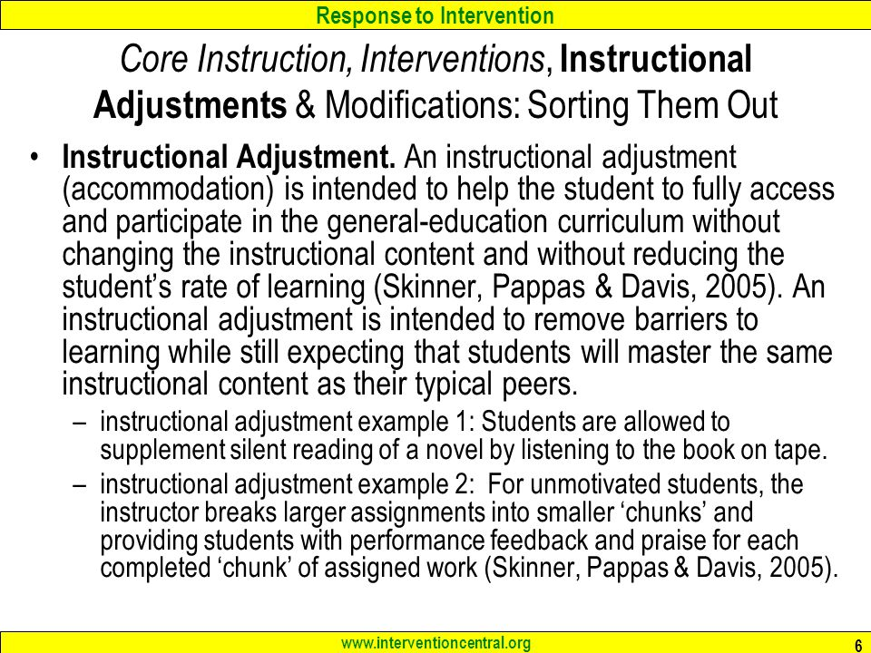 Core Instruction, Interventions, Instructional Adjustments & Modifications: Sorting Them Out