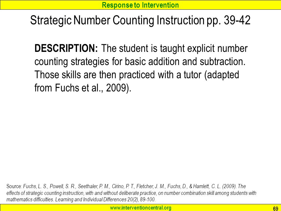 Strategic Number Counting Instruction pp. 39-42
