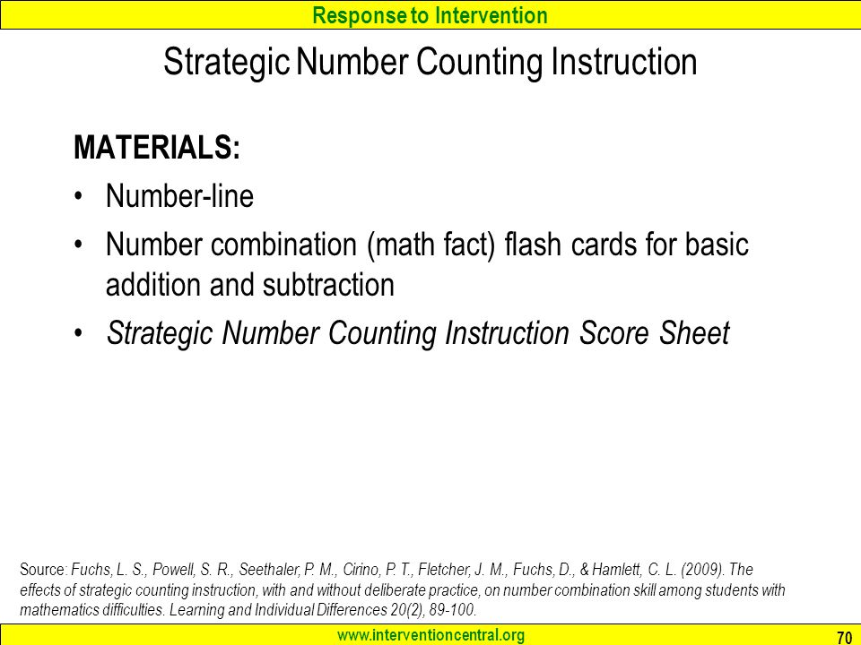 Strategic Number Counting Instruction