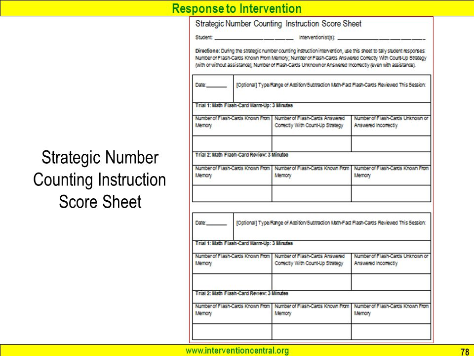Strategic Number Counting Instruction Score Sheet