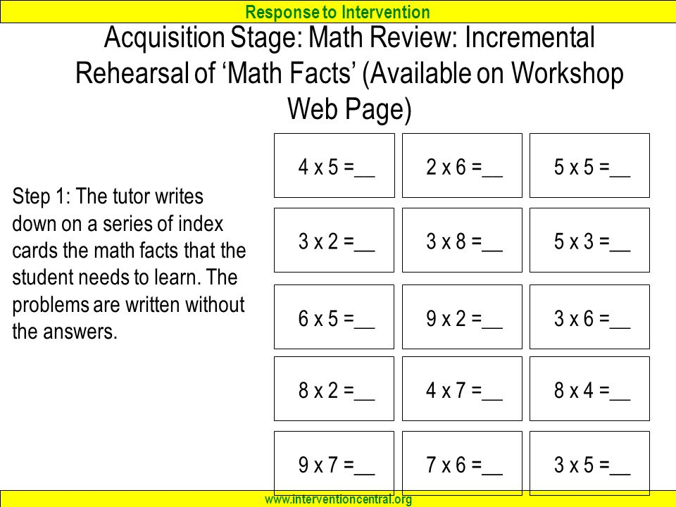 Acquisition Stage: Math Review: Incremental Rehearsal of 'Math Facts' (Available on Workshop Web Page)