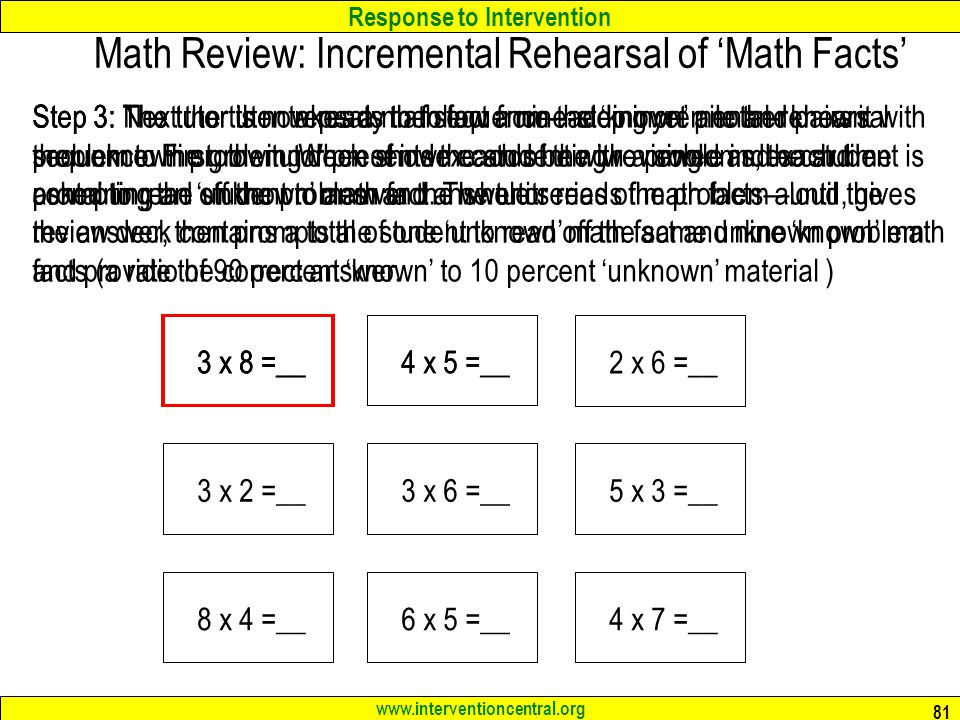 Math Review: Incremental Rehearsal of 'Math Facts'