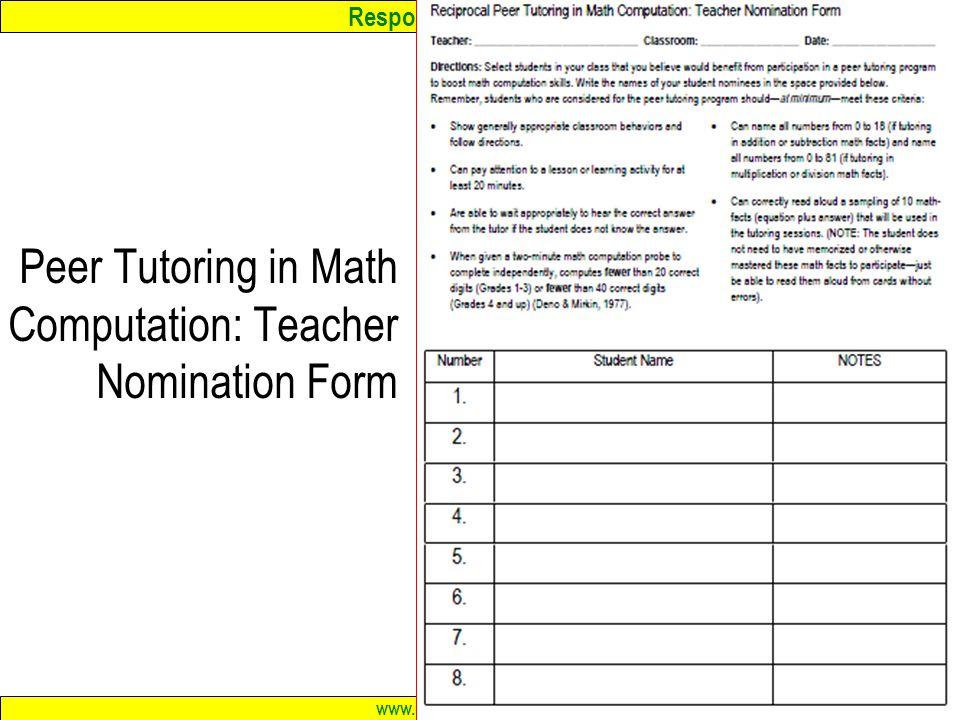 Peer Tutoring in Math Computation: Teacher Nomination Form