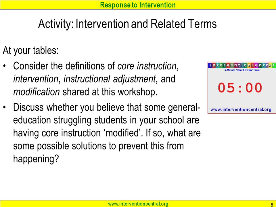 Activity: Intervention and Related Terms