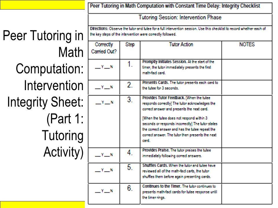 Peer Tutoring in Math Computation: Intervention Integrity Sheet: