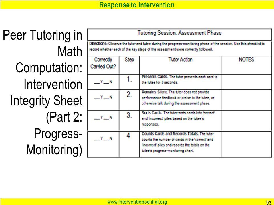 Peer Tutoring in Math Computation: Intervention Integrity Sheet